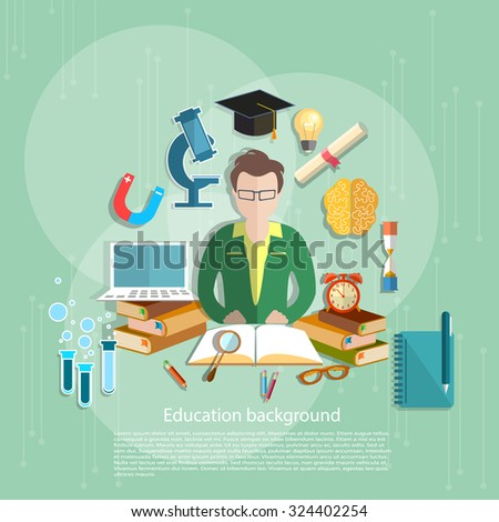 Education concept students e-learning teacher open book school subjects college university vector illustration - stock vector