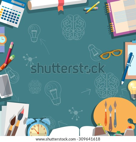 Education concept table schoolboy school objects back to school power knowledge vector illustration - stock vector
