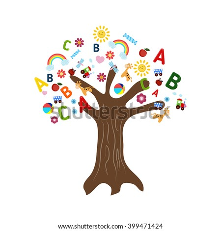 Education concept tree with children's icons. Tree on white background. - stock vector