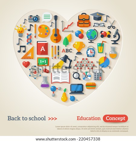 Education concept. Vector illustration. Back to school. Flat Icon Set. Concept of the high school object with teaching and learning symbols.  - stock vector