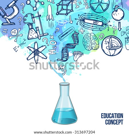 Education concept with realistic lab flask and sketch science symbols vector illustration - stock vector