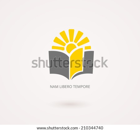 Education Concepts Logo. Yellow and Gray Knowledge Icon with Book and Sun Design  Isolated on White Background. Used for University or School Designs - stock vector