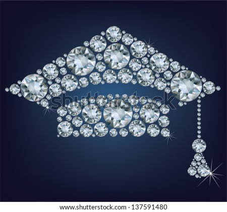 Education Cup made from diamonds - stock vector