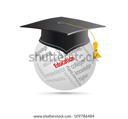 Education Cup on Globe Keywords. Vector illustration. - stock vector