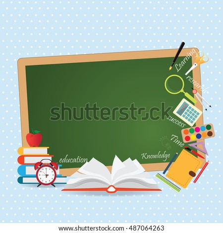 Education design background with open book, back to school creative conceptual, Modern template flat Design Vector illustration.
