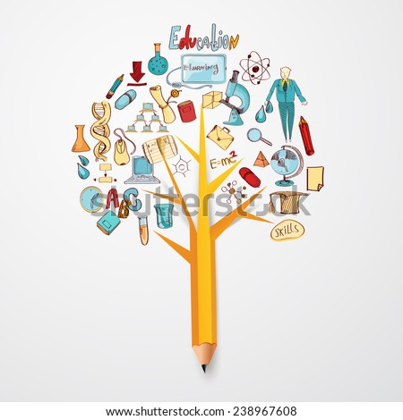 Education doodle concept with research science school icons on pencil tree vector illustration - stock vector