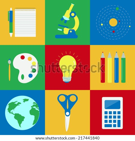 Education elements. Nine colorful objects related to education: notebook, microscope, atoms, painting, idea, colored pencils, globe, scissors, calculator - stock vector