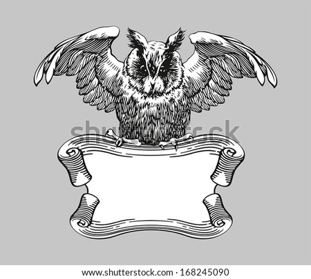 Education emblems. Owl on a banner.  - stock vector