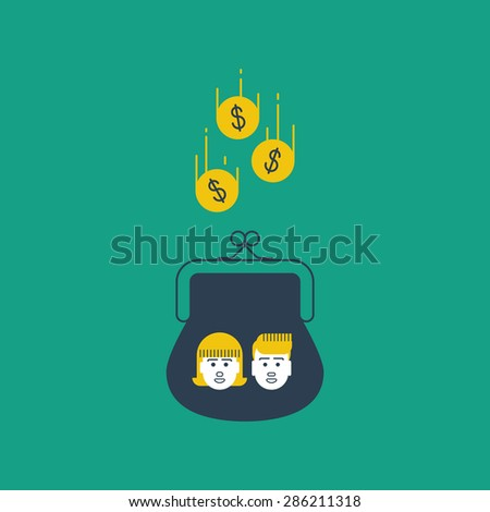 Education expenses. Savings account. Future investments. Alimony. - stock vector