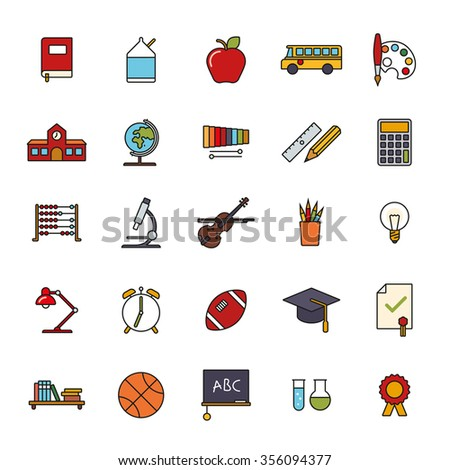 Education Filled Line Icons Set. Collection of twenty five education, school, college and university related line icons with color fill.