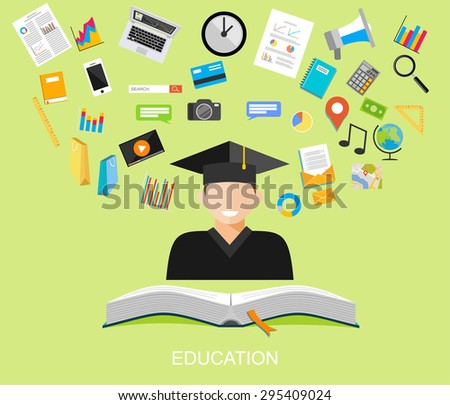 Education flat design illustration concept.  - stock vector