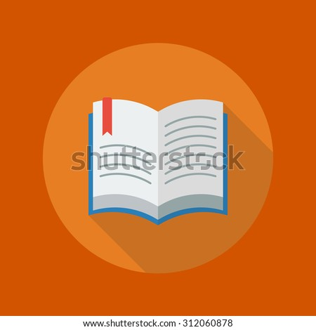 Education Flat Icon With Long Shadow. Book - stock vector