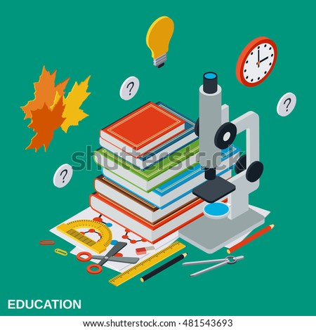 Education flat isometric vector concept illustration