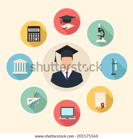 education flat style infographics background. male graduate in gown and education icons set - stock vector