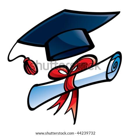 Education (Graduation cap and diploma) - stock vector