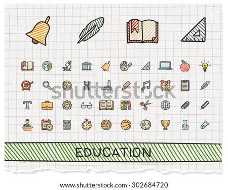 Education hand drawing line icons. Vector doodle pictogram set: color pen sketch sign illustration on paper with hatch symbols: school, elearning, knowledge, learn, subjects, teaching, college. - stock vector