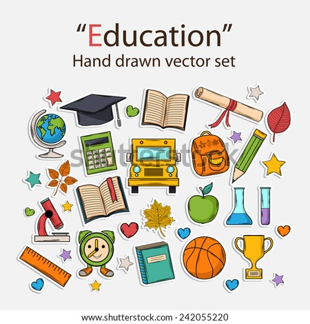 Education hand drawn set.Scrapbook set.Sticker.With hat graduate,scroll, apple,books,flasks,basketball,alarm clock,briefcase, backpack, school bus,globe,ruler,microscope - stock vector