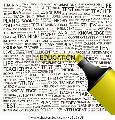 EDUCATION. Highlighter over background with different association terms. Vector illustration. - stock vector