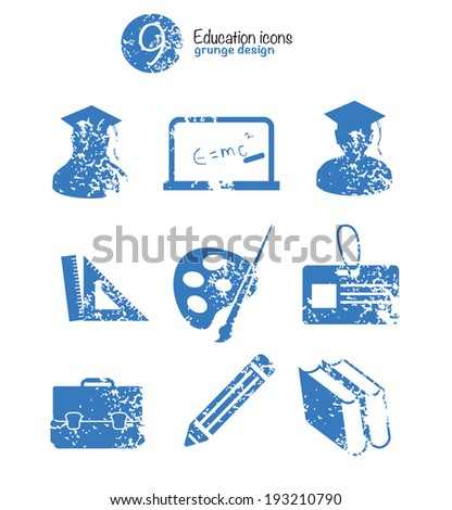 Education icon set,blue version,grunge vector