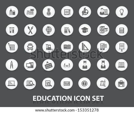 Education icon set,Circle version,vector - stock vector