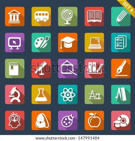 Education icon set- flat design - stock vector