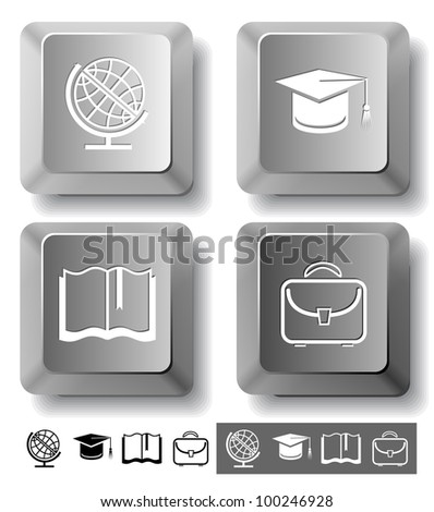 Education icon set. Graduation cap, book, briefcase, globe. Computer keys. Vector illustration.