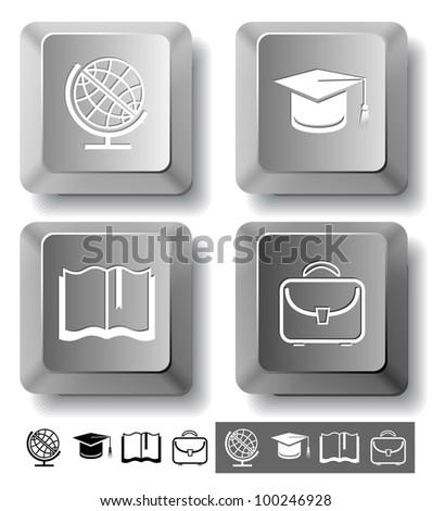 Education icon set. Graduation cap, book, briefcase, globe. Computer keys. Vector illustration. - stock vector