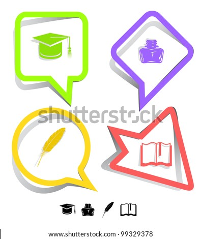 Education icon set. Graduation cap, book, inkstand, feather. Paper stickers. Vector illustration. - stock vector