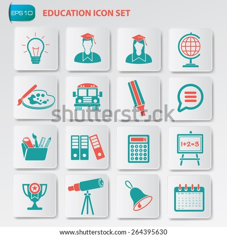 Education icon set on clean  button,vector - stock vector