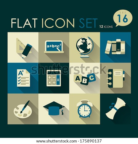 education icon set vector flat style design