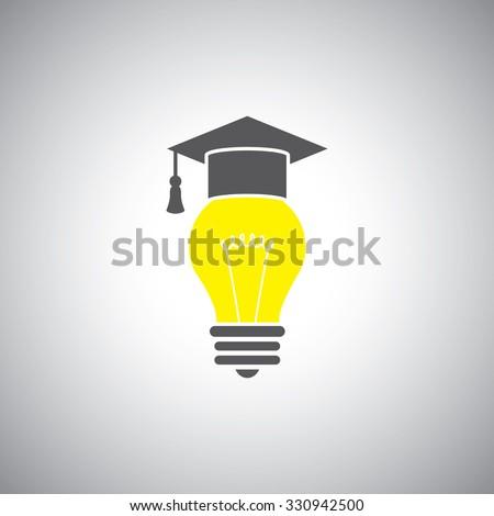 education icon. vector illustration graduation cap and light bulb - stock vector
