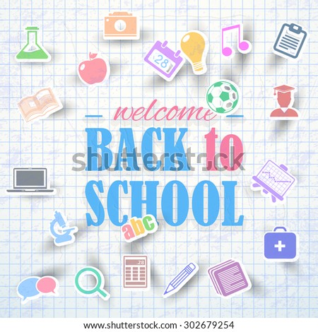 Education Icons and Welcome Back to School Vector Background