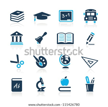 Education Icons  // Azure Series - stock vector