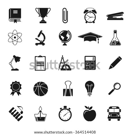 Education icons. Black icons on white background. Elements and objects education, training of teaching. University and school. Science icon. Elements of design for web pages and print. Vector
