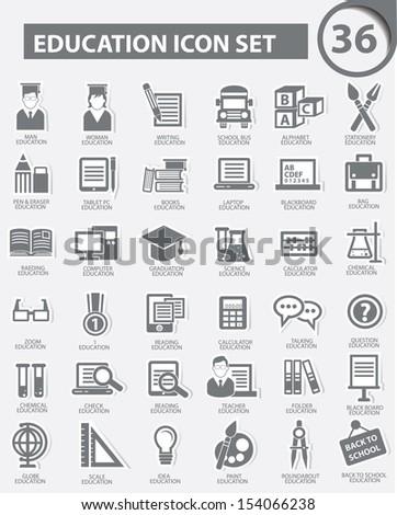 Education icons,Gray version,vector - stock vector