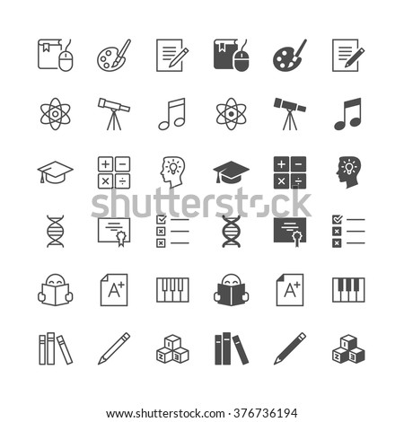 Education icons, included normal and enable state. - stock vector
