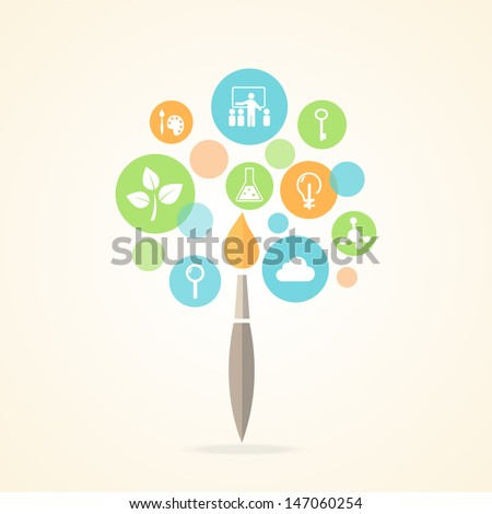 Education Icons Infographic Tree Design. Vector EPS 10 - stock vector