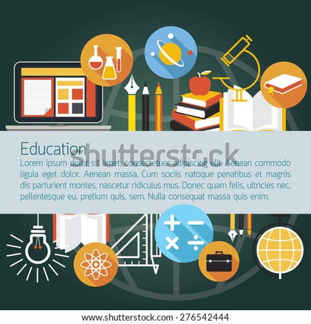 Education Icons Objects Layout with Copy Space, Learning and Study
