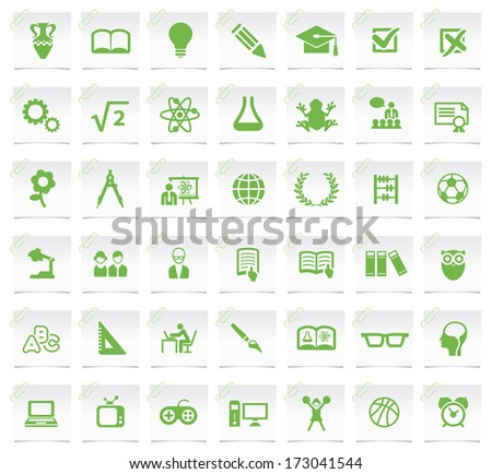 Education Icons on a Notepaper. - stock vector