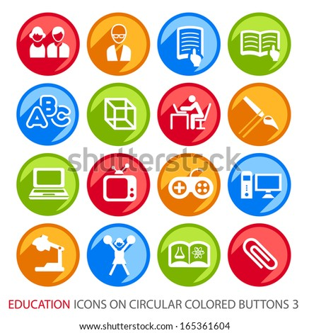 Education Icons on Circular Colored Buttons 3. - stock vector