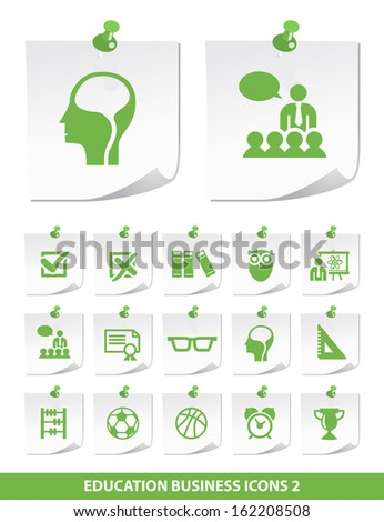 Education Icons on Paper 2. - stock vector