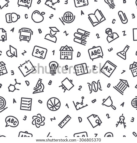 Education Icons Seamless Background. Editable pattern in swatches.