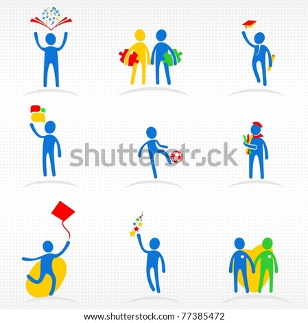 Education icons set - stock vector