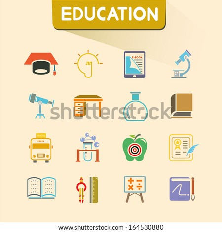 education icons set, color icons, vector