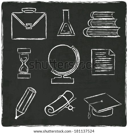 Education icons set on old black board - vector illustration - stock vector