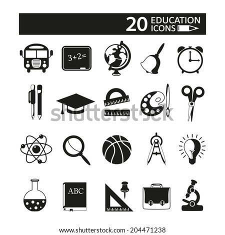 Education icons set on white background. - stock vector