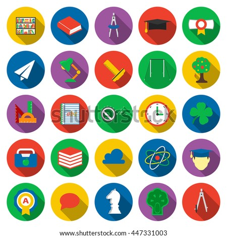 Education icons set. School, Study collection icon in flat design. University, student and pupil equipment symbol.