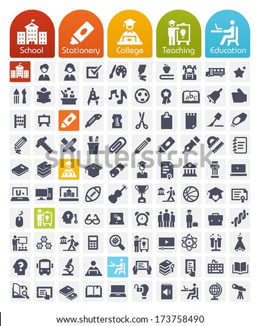 Education Icons set - transparent quality icons: school, stationery, college, teaching, education - stock vector