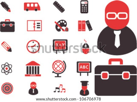 education icons set, vector - stock vector