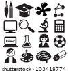 education icons, signs, vector illustration set - stock vector